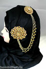 Ladies Diamante Double Brooch Chain Hijab Pin Head Piece Bridal CostumeJewellery
