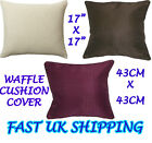 """Waffel Effect Sofa Bed Scatter Cushion Covers 17"""" x 17"""" 43cm x 43cm New"""