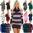 New Womens Ladies Long Sleeve Cowl Neck Striped Knitted Jumper Dress Size 8-14