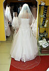 """White / Ivory Wedding Prom Bridal 2 Tier Cathedral Veil With Comb 78"""" - W9"""