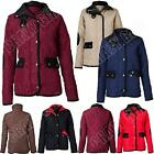 New Womens Ladies Quilt Zip Button Padded Lined Hood Jacket Size 8-16 S M L XL