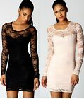 New Ladies Sexy Lace Black Long Sleeved Shift Bodycon Stretch Floral Dress 6- 14