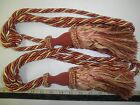 "2  DRAPERY TIE-BACKS  w/ 8"" Tassel ORANGE- RED/GOLD/OFF-WHITE   Curtain Trim Q"