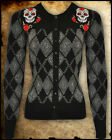 BLACK GREY SKULL ARGYLE ROCKABILLY TATTOO CARDIGAN GOTH PUNK SWEATER TOP PIN UP
