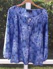 JONES NEW YORK BLUE MULTI CASUAL GEOMETRIC LONG SLEEVE POLYESTER BLOUSE L NEW