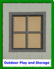 "12"" BROWN SQUARE SHED WINDOW PLAYHOUSE BARN OUTDOOR  SMALL GLASS 12X12 BUILD"