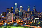 Philadelphia Skyline NIGHT 20x30 Color/BW Philly Photo Print Poster Photo BIG