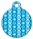 BLUE POLYESTER PATTERN - Custom Personalized Pet ID Tag for Dog and Cat Collars