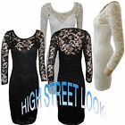 Ladies Floral Lace Bodycon Dress 3/4 Sleeve Sexy Top Party Mini Tunic sizes 8-14