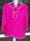 APPRAISAL PLUS PINK COTTON RAYON EMBROIDERED V LACE BLOUSE  SHIRT TOP  1X 2X NEW
