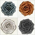 "3"" Handmade ROSE w/ Berisford Double Satin Bridal Dress Trim Black Silver Brown"
