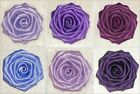 "Large 3"" Handmade ROSE Berisford Satin Bridal Corsage shoe Dress APPLIQUE PURPLE"