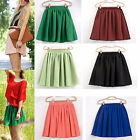 Women's Girl's Double Chiffon Layer High Waist Short Pleated Mini Skirt Dress