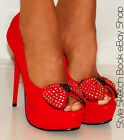 LADIES BRIGHT RED BOW SUEDE PEEP TOES PLATFORMS SUEDE HIGH HEELS SHOES SIZES 3-8