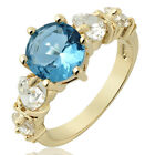 Fashion Gift Lady Round Cubic Zirconia 18K Yellow Gold Plated Gp Ring Size 6 7 8