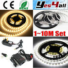 1-10M LED Strip Warm White/White 3528 SMD Light+Power Supply Set Indoor Room DIY
