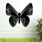 SWIRLY BUTTERFLY sticker floral flower living bed room decal swirl wall stickers