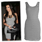 New black white stripped scoope neck cotton jersey dress