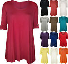 NEW WOMENS PLUS SIZE DIAMONTE TURN UP SHORT SLEEVE LADIES LONG PLAIN TOPS 14-28