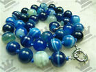 Blue Striped Agate Gem Round Necklace 18 ""