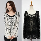 Womens Sexy Sheer Sleeve Embroidery Floral Lace Crochet Tee Tops T-Shirt Blouse