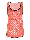 NEW WOMEN'S LADIES' CAT PRINT TOP VEST RETRO KAWAII STYLE  MINT KATY SPORTY UK