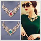 curren wome's Gold Plated Crystal Hollow Out Flower Pattern Choker Bib Necklace