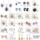 18KGP Gold/White Gold/Rose Gold Plated Necklace Earrings Czech Swarovski Crystal