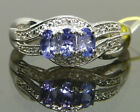 Genuine Tanzanite Trilogy Anniversary  Ring Platinum / 925 Sterling Silver