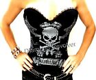 Sexy Womens Black Tattoo Ink Corset Top Punk Rock Chick Glam Gothic Fetish S M L