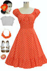 50s Style Orange & White POLKA Dots PINUP Peasant Top On/Off The Shoulder Dress