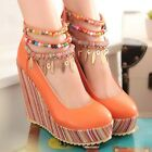 Ladies Sweet Boho Colorful Beaded Wedge Platform Espadrilles Sandals Shoes #605