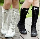 EMO Women Girl Shoes PUNK Canvas Flat Tall Boots Zip Lace Up Knee High Sneaker