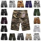 Man's Solid Polka Dot Military Army Camo Cargo Work Pants Shorts Casual Trousers