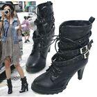 Women Black High Heel Short Ankle Boots Shoes Buckle Laces Up UK All Size F82