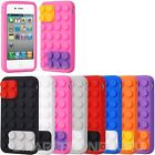 Lego Brick Silicone Rubber Block Soft Case Cover for iPhone 4 4G 4S Wholesale