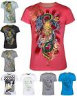 Mens T-Shirts Campervan Surf Bling Dragon Diamond Music Check Race Summer Top