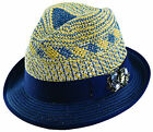Scala by Dorfman Pacific Womens Straw Fedora with Grosgrain Ribbon & Gem Cluster