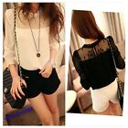 2013 Hot Sale Lady's Long Sleeve Lace Chiffon Stand Collar Shirt Blouse 2 Colors