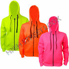 NEW ADULT ELECTRIC NEON HOODIES MENS WOMENS PLAIN ZIPPER JUMPER SIZE 8-10-12-14