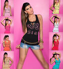 Sexy Lady Clubbing Dance Wear Rip Effect Strass Party Tank Top UK 8-10 EU 36-38