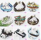 Hot Fashion Lady Antique Silver/Bronze Plated Cross Cotton Rope Leather Bracelet