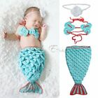 Little Mermaid Newborn Baby Infant Girls Outfit Crochet Knit Costume Photo Props