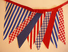 BUNTING Nautical Red Blue White Gingham Stripe - Red Ribbon - 3m, 5m or 10m