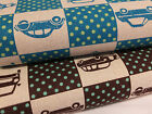 Japanese Linen/Cotton Echino Retro Cars & Dots Fabric