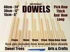 QUALITY WOODEN DOWELS 15cm 30cm or 60cm Craft Pole Stick Sweet Tree * FREEPOST *