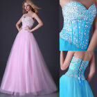 LUXURY❤ Shiny Beaded Formal evening gowns Formal Bridesmaids long Prom Dresses