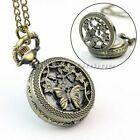 Vintage Bronze Retro Pocket Watch Quartz Necklace Steampunk Men Lady Gift