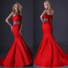 Chic Red Mermaid Waist Beaded Ball Prom Evening Formal Party Cocktail Long Dress