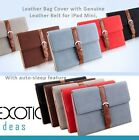 iPad Mini 2 Mini 3 Leather Cover w Genuine Leather Blet and Brass Buckle